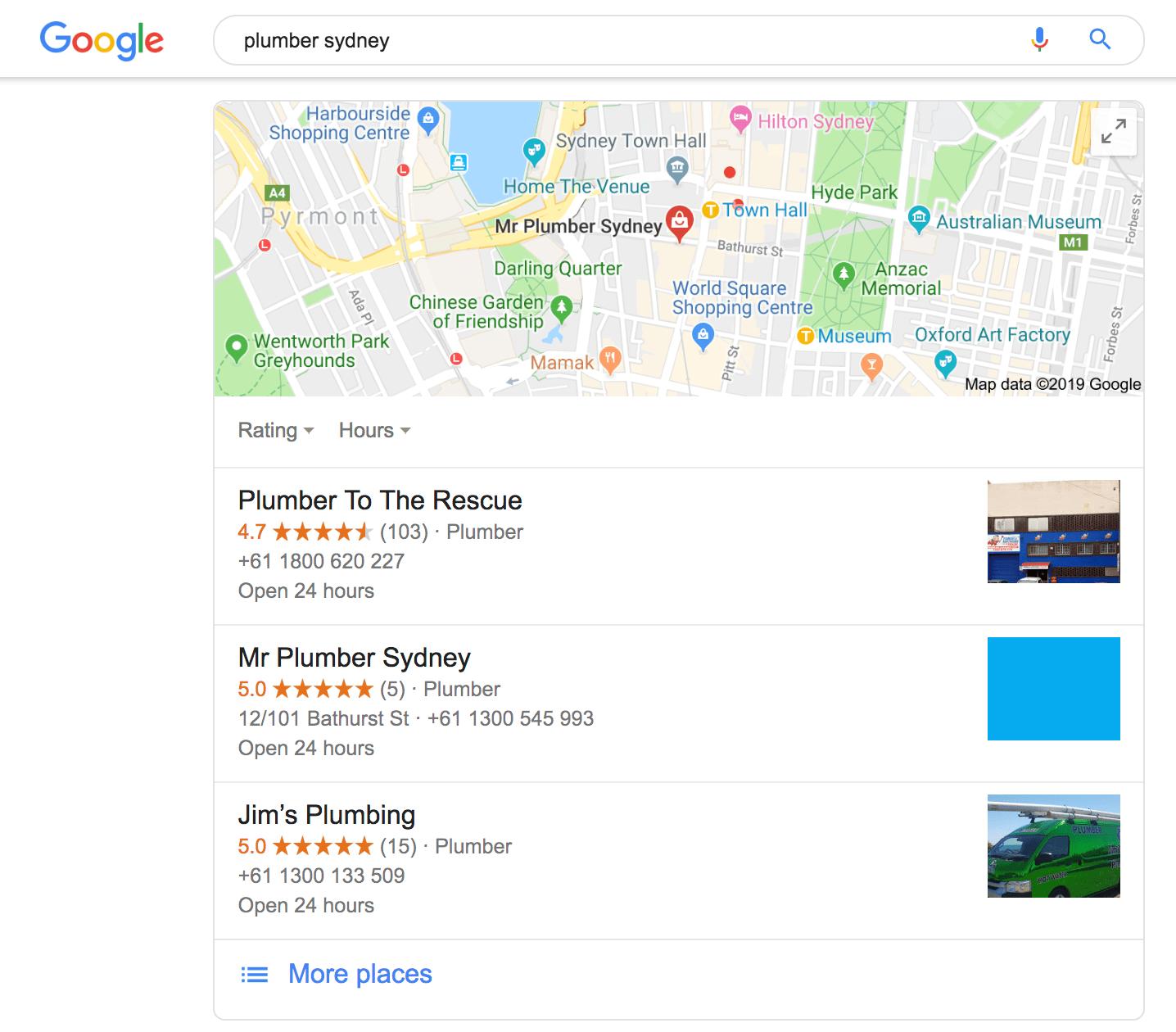 google my business listing sydney