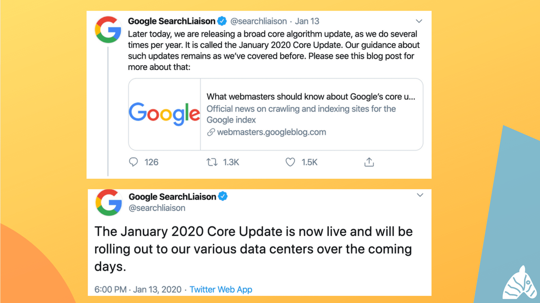 google core update January 2020 twitter updates