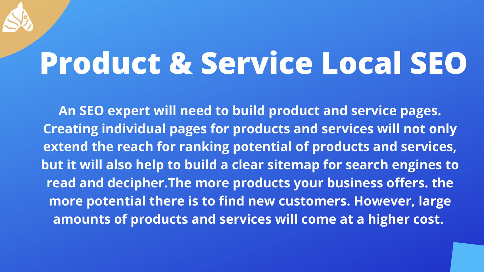 information on product and service pages and how they influence local SEO costs