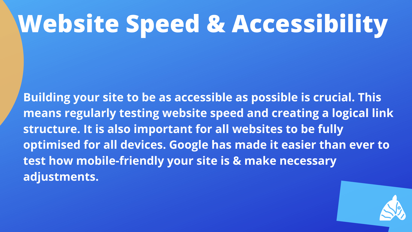 website speed and accessibility tips from Google's search for beginners video