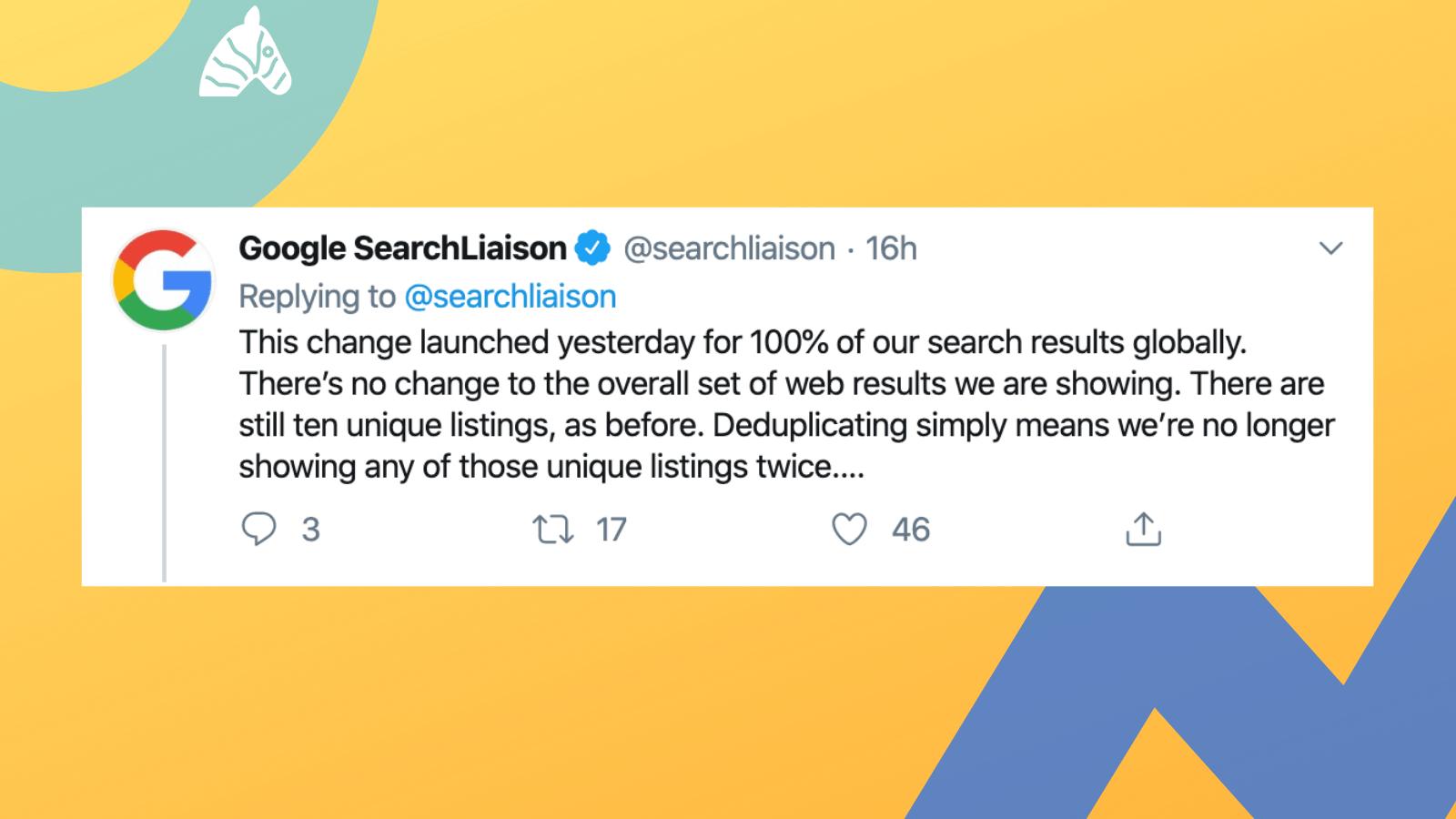 search liason tweet about Google update