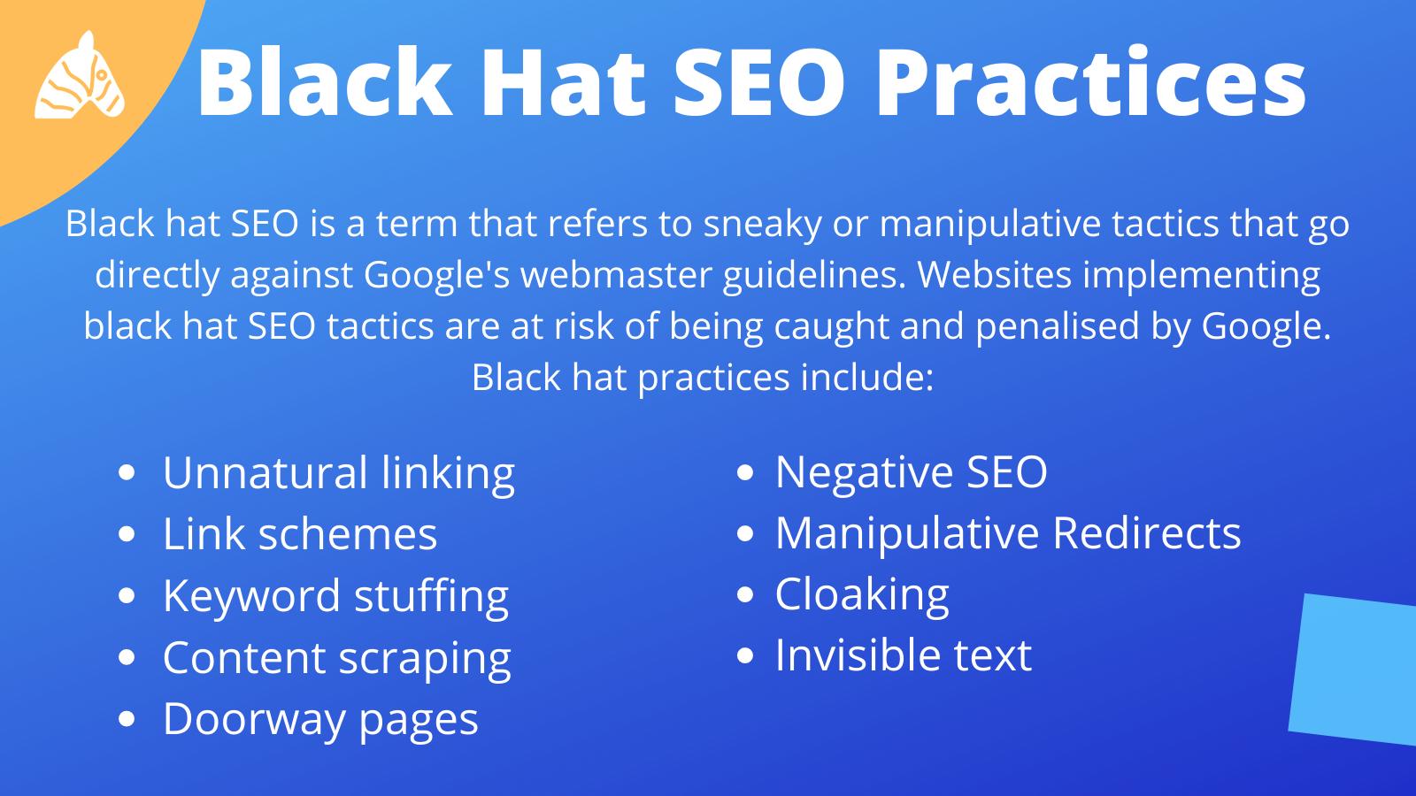Black hat SEO practices Google Webmasters advise to avoid