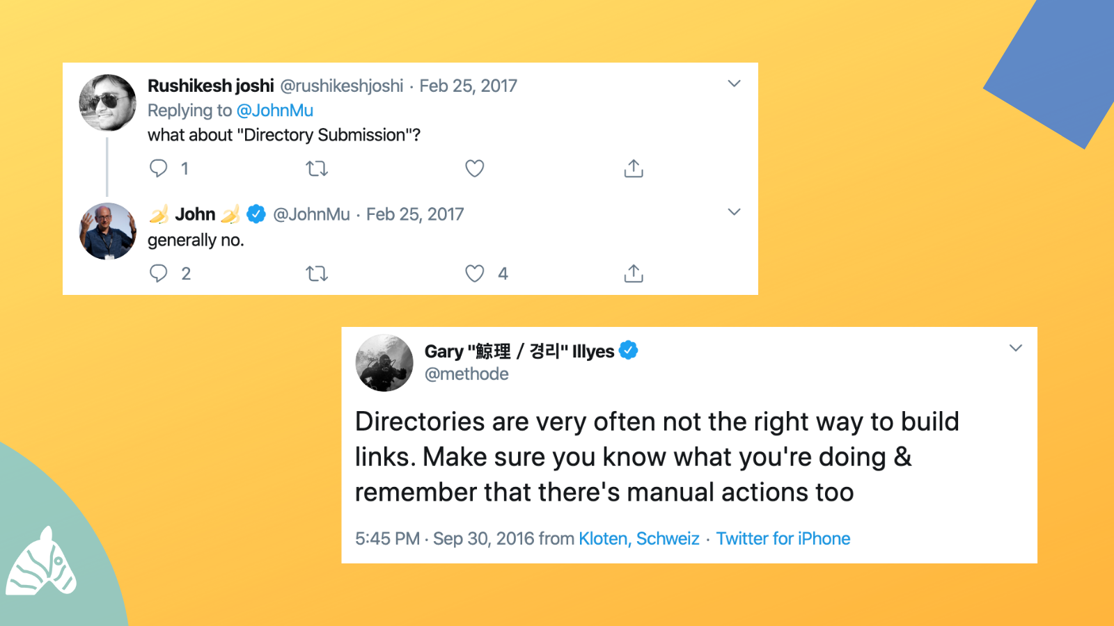 Twitter conversation about types of links and directory links