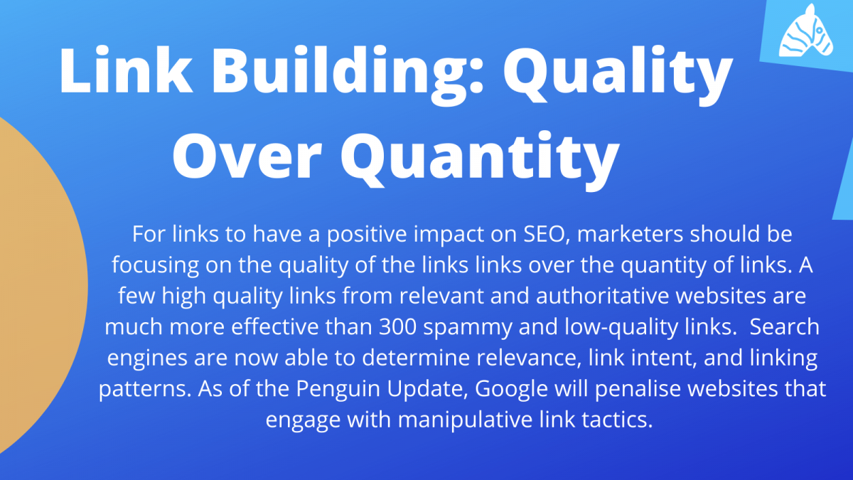Information about the value of quality backlinks over quantity of backlinks for SEO