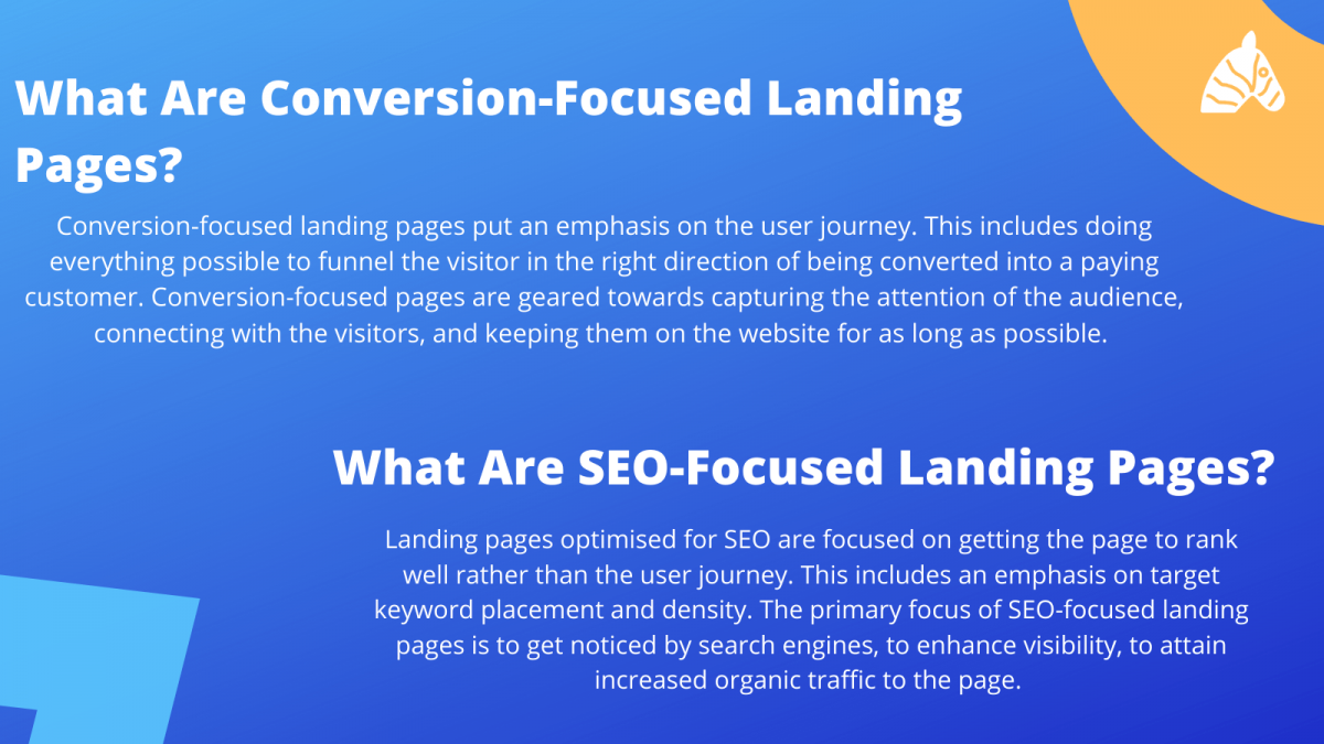 conversion focussed vs. SEO focussed landing pages - key differences