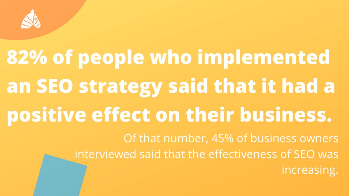 knowledge gaps in SEO - 82% of people implemented an SEO strategy said it had a positive effect on business