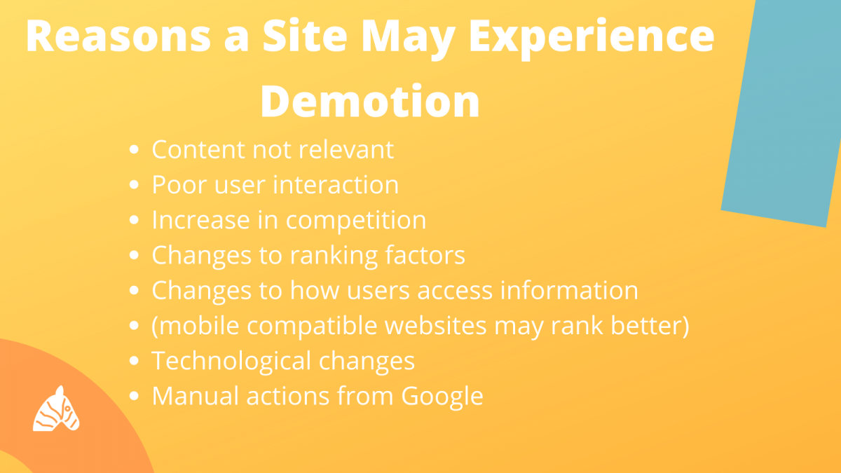 reasons why a site may be demoted in the SERPs
