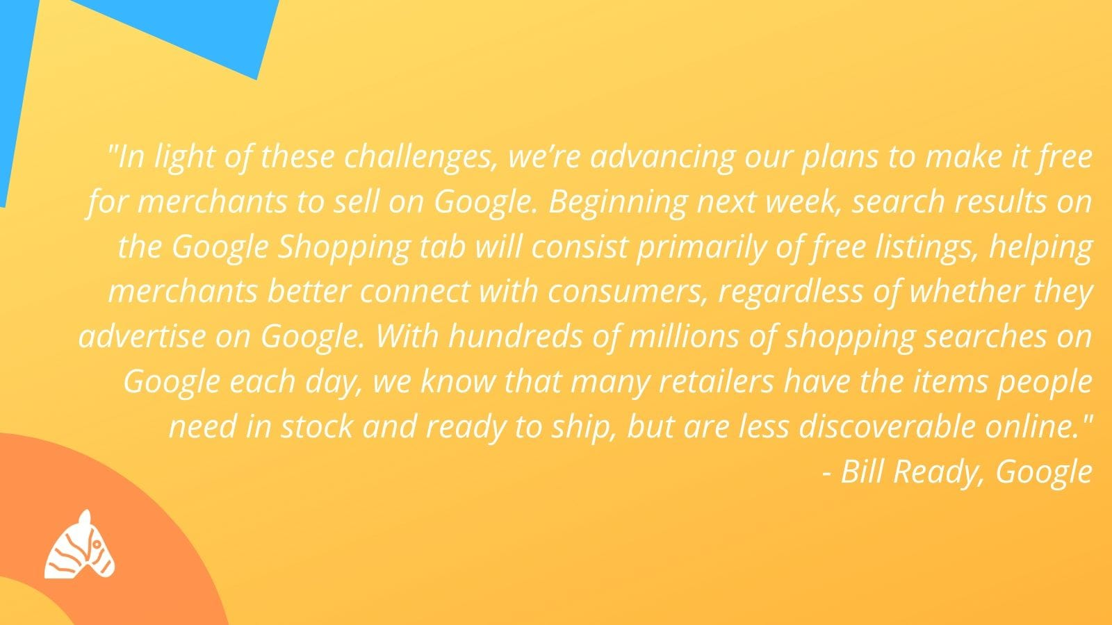 Google shopping statement from Bill Ready