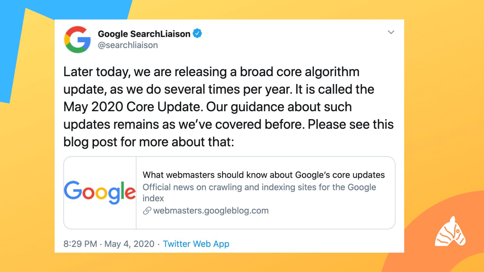 Google Search Liason twitter update regarding the may 2020 core update