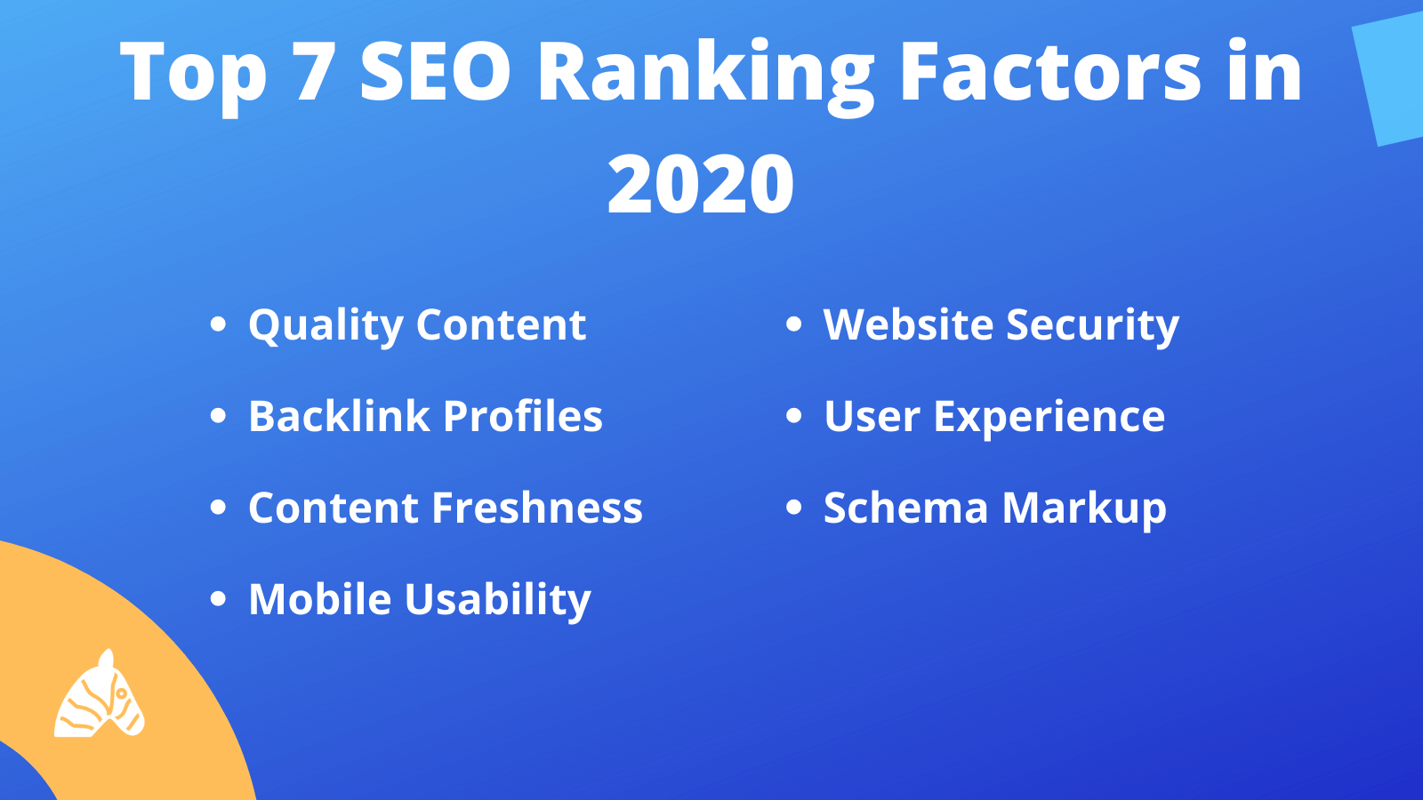 Top 7 SEO ranking factors in 2020 divided into sub-categories