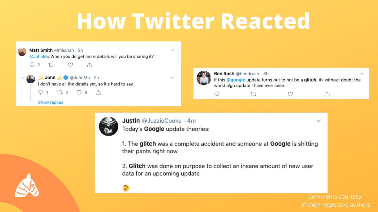 twitter posts about Google Algorithm Glitch August 2020