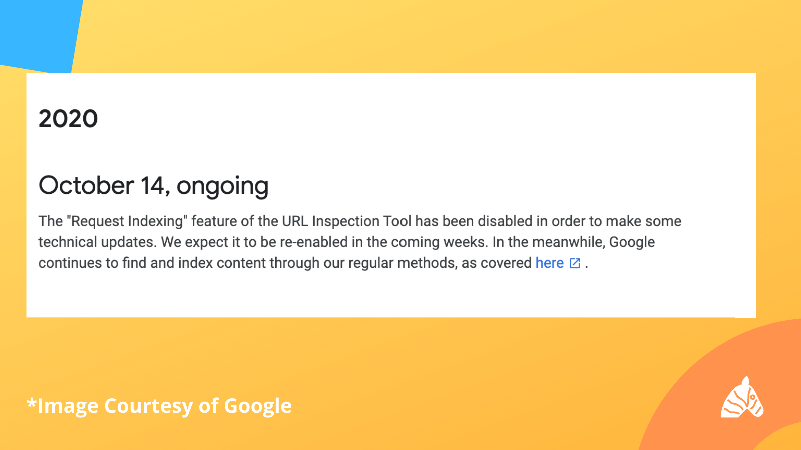 page actions disabled notice in google search console