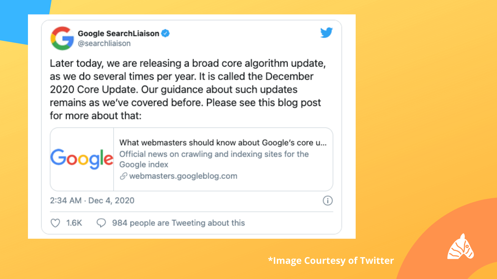 Google Search Liaison Tweet about december 2020 core update