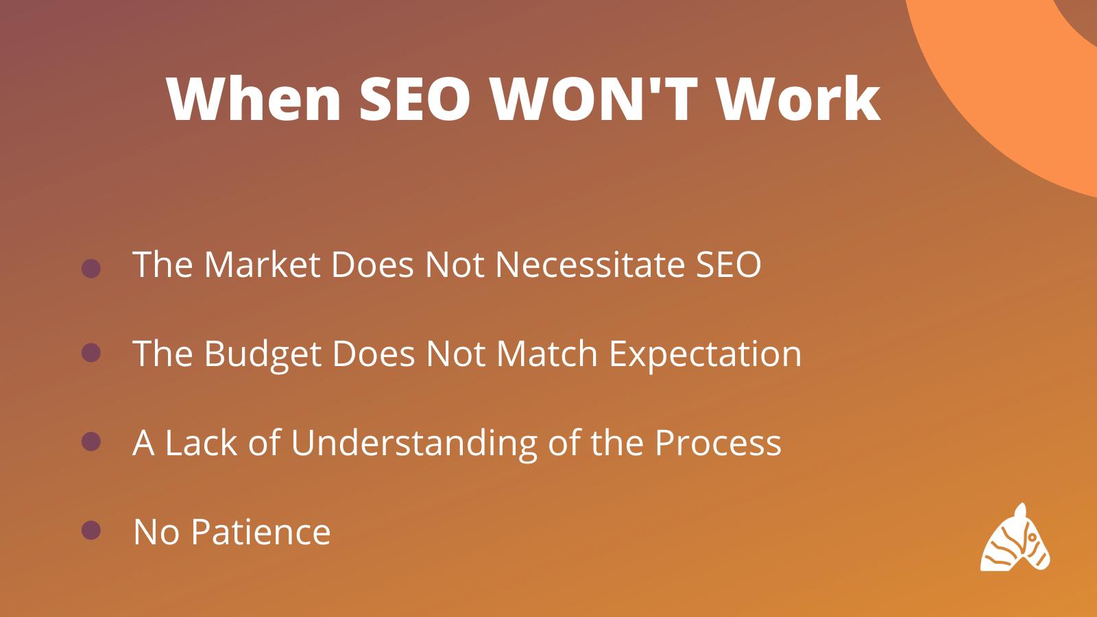 Reasons why SEO won't work