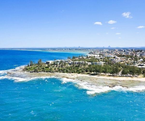 sunshine coast seaside aerial
