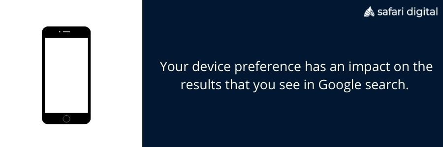 device preference and google search results