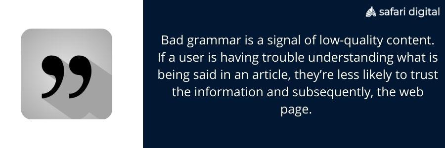 bad grammar seo infographic