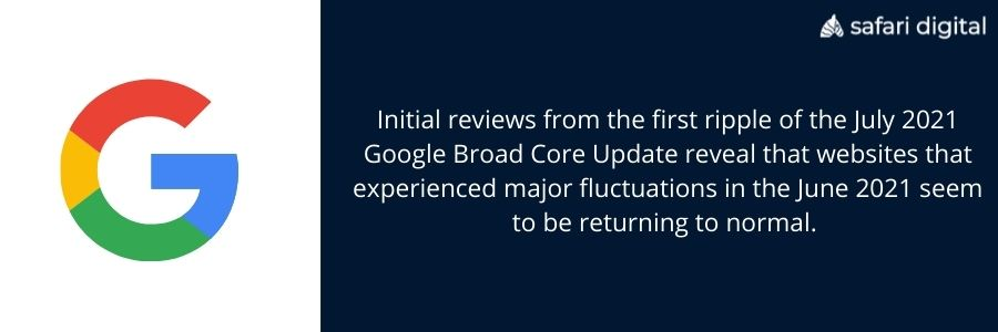 Initial insights on the July 2021 Google Broad Core Update