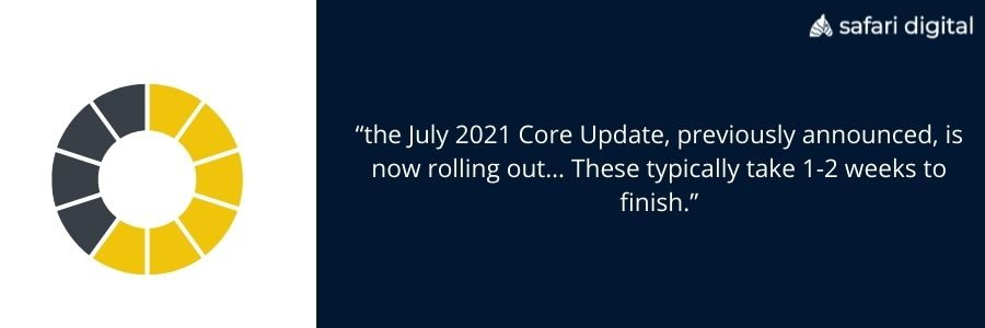Google search liaison tweet about july update